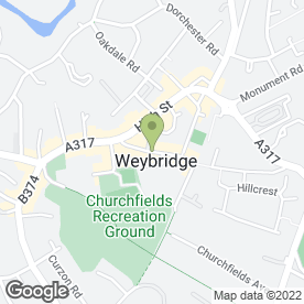 Map of Crystal Communications in Weybridge, surrey