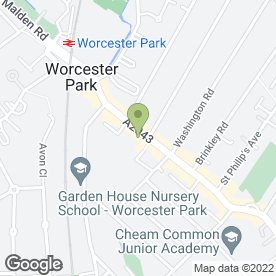Map of Redgwell Sewing Machines T/A All Sewing Machine Repairs in Worcester Park, surrey