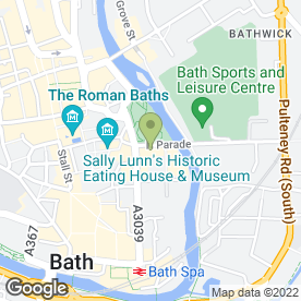 Map of Parade Park in Bath, avon