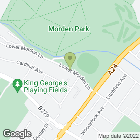Map of AQUAJOY WATER GARDENS in Morden, surrey
