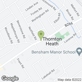 Map of Thornton Heath Library in Thornton Heath, surrey