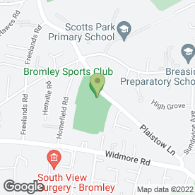 Map of Bromley Cricket Club Ltd in Bromley, kent
