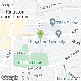 Map of Kingston Grammar School in Kingston upon Thames, surrey