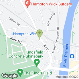 Map of Ravens Hair Studio in Hampton Wick, Kingston Upon Thames, surrey