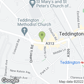 Map of Costa in Teddington, Middlesex