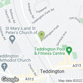 Map of Jacksons Ford in Teddington, middlesex