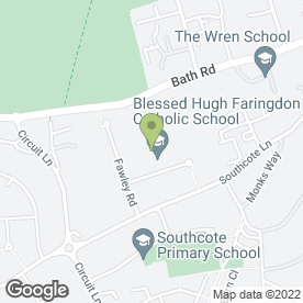 Map of Blessed Hugh Faringdon Catholic School in Reading, berkshire