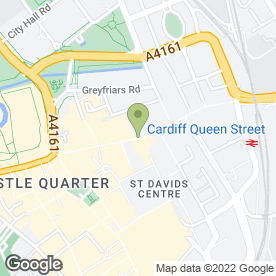Map of O2 in Cardiff, south glamorgan