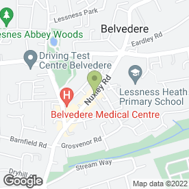 Map of Belvedere Social Club in Belvedere, kent