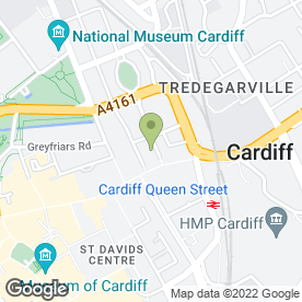Map of Virgin Money in Cardiff, south glamorgan