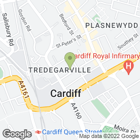 Map of CARDIFF ACADEMY in Roath, Cardiff, south glamorgan