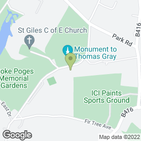 Map of Stoke Poges Memorial Gardens in South Bucks, berkshire