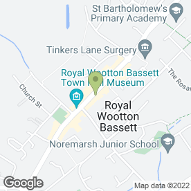 Map of Poppies of Potters Walk in Wootton Bassett, Swindon, wiltshire