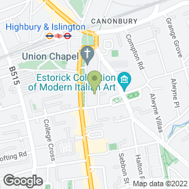 Map of Union Chapel in London, london