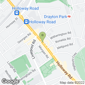 Map of Greggs in Holloway, London, london
