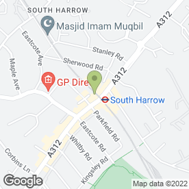 Map of Vaneice in Harrow, middlesex