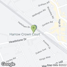 Map of Harrow Crown Court in Harrow, middlesex