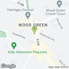 Map of Greggs in Wood Green, London, london