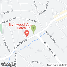 Map of Blythwood Vets in Pinner, middlesex