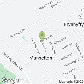 Map of Spring Garden in Manselton, Swansea, west glamorgan