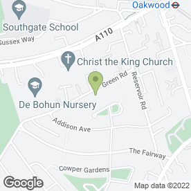 Map of The Oakwood Physiotherapy Clinic in Southgate, London, london