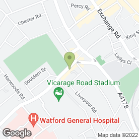 Map of The Football Cafe in Watford, hertfordshire