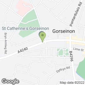Map of Penybryn Surgery in Gorseinon, Swansea, west glamorgan