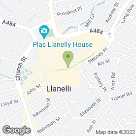 Map of St. Elli Shopping Centre in Llanelli, dyfed