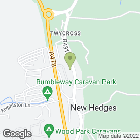 Map of Rumbleway Service Station in New Hedges, Tenby, dyfed