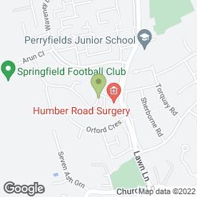 Map of Humber Road Surgery in Chelmsford, essex