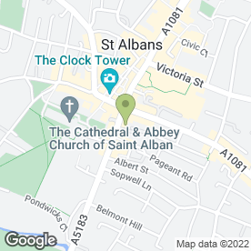 Map of St Albans Funeral Services in St Albans, hertfordshire