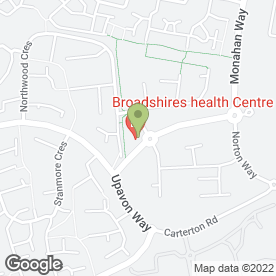 Map of The Broadshires Health Centre in Carterton, oxfordshire
