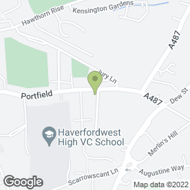 Map of Fenton Veterinary Practice in Haverfordwest, dyfed