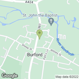 Map of Burford P.O in Burford, oxfordshire