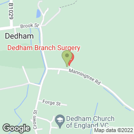Map of The Dedham Branch Surgery in Dedham, Colchester, essex
