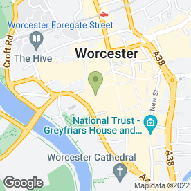 Map of Huntingdon Hall in Worcester, worcestershire