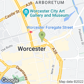 Map of Qualitysolicitors Parkinson Wright in Worcester, worcestershire