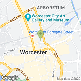 Map of Cafe Bliss in Worcester, worcestershire