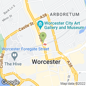 Map of Costa Coffee in Worcester, worcestershire