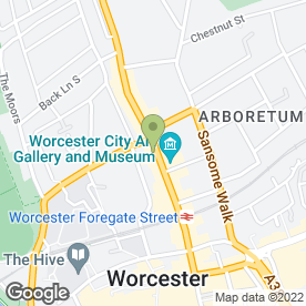 Map of Worcester Family Law Mediation Practice in Worcester, worcestershire
