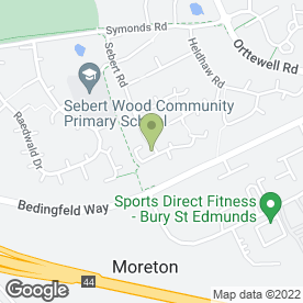 Map of Sebert Wood Community Primary School in Bury St. Edmunds, suffolk