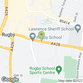 Map of Rugby School in Rugby, warwickshire