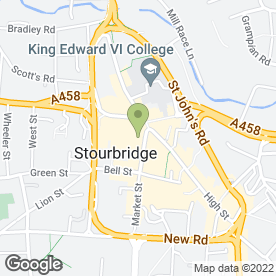 Map of Stourbridge Town Hall in Stourbridge, west midlands