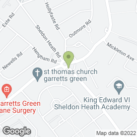 Map of Sheldon Medical Centre in Sheldon, Birmingham, west midlands