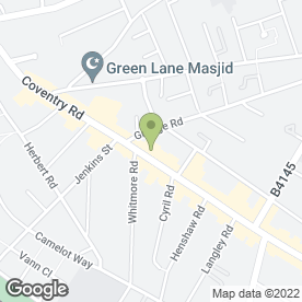 Map of Bader Restaurant in Small Heath, Birmingham, west midlands