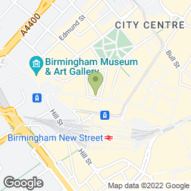 Map of Flight Centre in Birmingham, west midlands