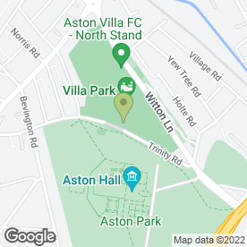 Map of Aston Villa FC Plc in Birmingham, west midlands
