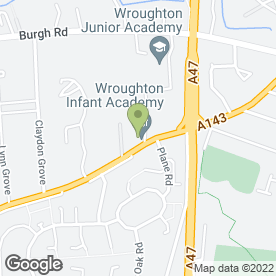 Map of Wroughton Infant School in Gorleston, Great Yarmouth, norfolk