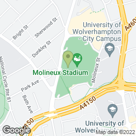 Map of Wolverhampton Wanderers Football Club in Wolverhampton, west midlands