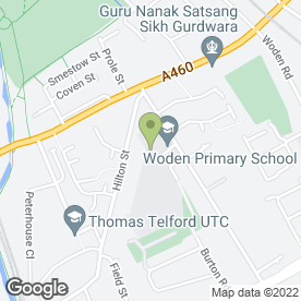 Map of Woden Primary School in Wolverhampton, west midlands
